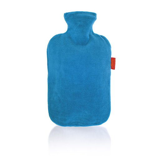 Review FASHY Classic German-Engineered Hot Water Bottles (VELOUR COVER and BOTTLE in BLUE)