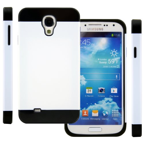 Celljoy Hybrid Tpu 2Pc Layered Hard Case Rubber Bumper For Samsung Galaxy S4 Siv (At&T / Verizon / Us Cellular / Sprint / T-Mobile / Unlocked) [Celljoy Retail Packaging] (White / Black)