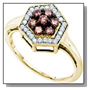0.50 Carat Chocolate Brown And White Diamond 10K Yellow Gold Womens Ladies Wedding Anniversary Fashi