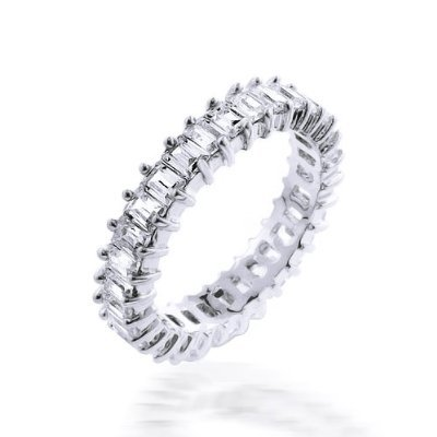 Bling Jewelry Baguette Cut CZ Eternity Wedding Band Ring