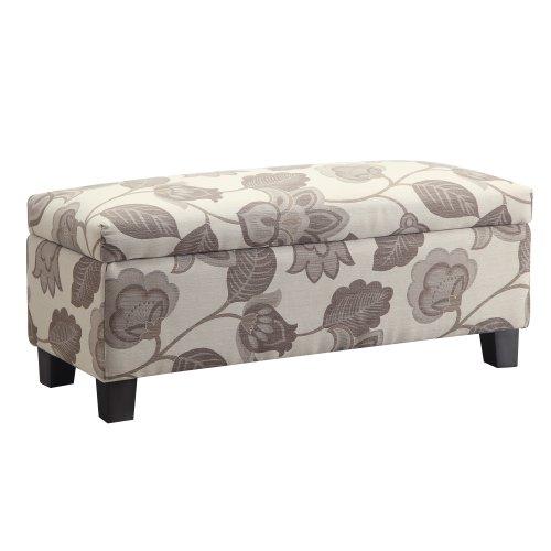 Kingsbury Home Corrine Floral Poppy Style Fabric Storage Bench Ottoman