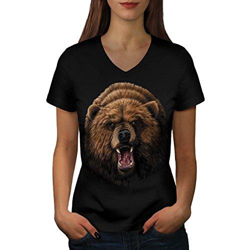 wild-danger-animal-bear-forest-women-new-black-m-v-neck-t-shirt-wellcoda
