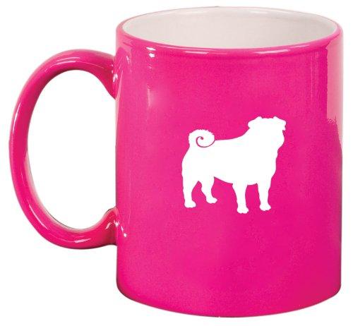 Pink Ceramic Coffee Tea Mug Pug