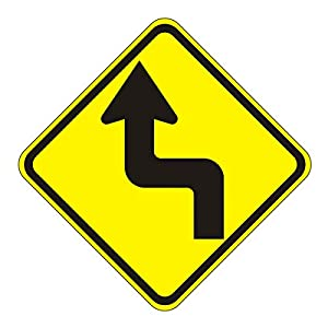 MUTCD W1-3L Left Reserve Turn Ahead Sign, 3M Reflective Sheeting, High Gauge Aluminum, Laminated, UV Protected, Made in U.S.A.