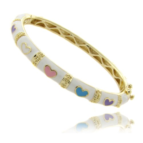 Lily Nily 18k Gold Overlay White Enamel Multi Colored Heart Design Children's Bangle