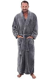 Del Rossa Men\'s Fleece Robe, Long Bathrobe, Small Medium Steel Gray (A0124STLMD)