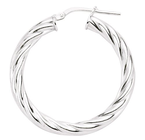 Mbody: Sterling Silver, Hoop Earring, Anti-Tarnish Finish. Lightweight Hollow Fashion Earring.