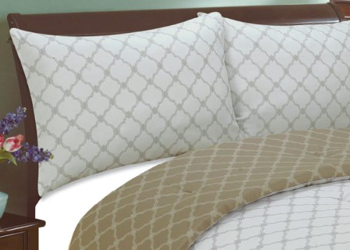 Natural Comfort Luxury Lines Microfiber Reversible Comforter Set, King, Snow Gold front-709558