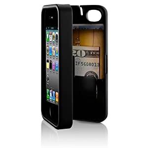 Black, Case for iPhone 4/4S with built-in storage space for credit cards/ID/money, by EYN (Everything You Need)