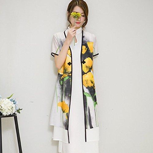 &zhou Cinese nazionale vento/Slim/elegante/elegante/stampa/Two-piece/insieme/long sleeve dress/abiti/partito/regalo/lungo gonna , blue , l