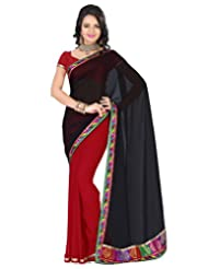 Deepika Saree Faux Georgette Black And Maroon Saree With Blouse