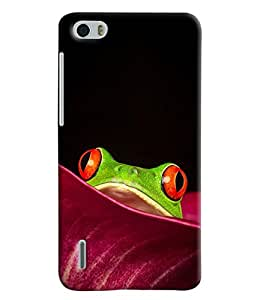 Blue Throat Frog Watching From Leave Printed Designer Back Cover For Huawei Honor 6