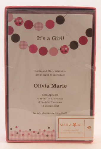 Mara-Mi Baby Girl Pink Dot Announcement Kit