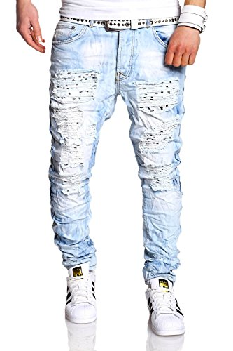 MT Styles Vintage Jeans Slim Fit Pantaloni RJ-2235 [light blue, W34/L32]
