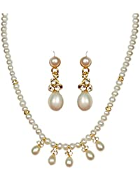 Classique Designer Silver Alloy With Gold Plated Button Pearl Necklace Set For Women(CP165)