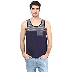 Atorse Mens Solid and Stripe Navy and White Cut and Sew Casual Sandos