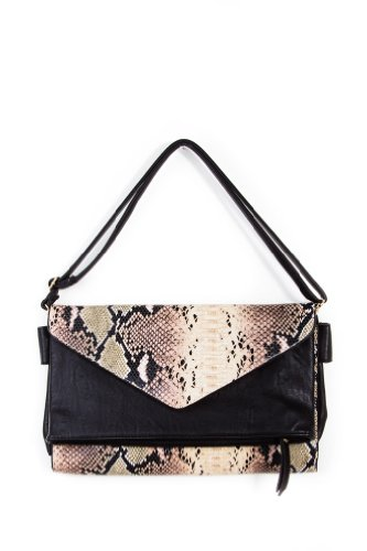 Faux Alligator Expanding Bag in Black