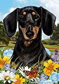Dachshund Black/Tan Dog - Tamara Burnett Summer Flowers Outdoor Garden Flag 12'' x 17''