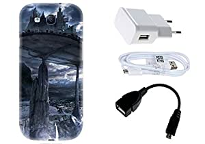 Spygen Samsung Galaxy S3 Case Combo of Premium Quality Designer Printed 3D Lightweight Slim Matte Finish Hard Case Back Cover + Charger Adapter + High Speed Data Cable + Premium Quality OTG