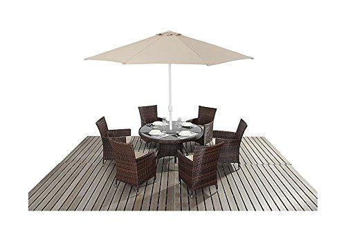 Sydney rustikal Gartenmöbel für 6 Personen, runder Esstisch-Stuhl-Set