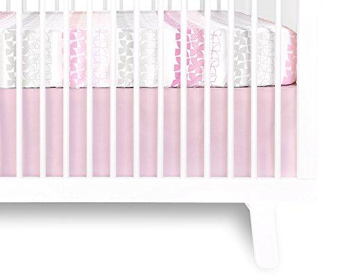 Olli & Lime Logan Crib Skirt, Pink/White