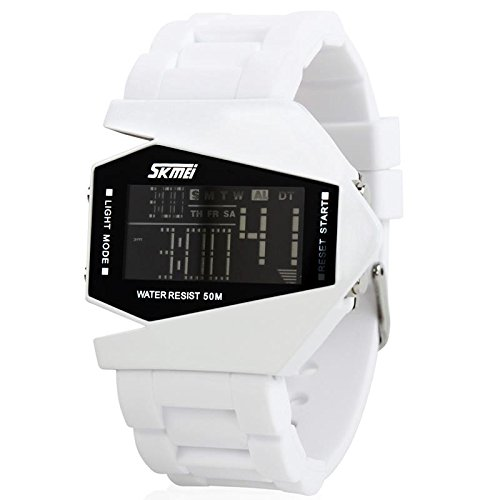 Generic Irregular-Shaped Case Analog Digital Waterproof Watch With Chronograph,Light,Stop Watch,Calendar,Alarm Clock White