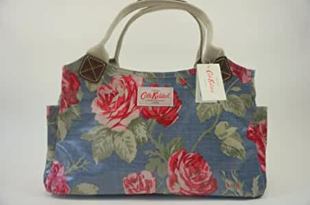 Cath Kidston NEW Oilcloth Day Bag Antique Rose Floral In Petrol Blue Amazon.co.uk Shoes U0026 Bags