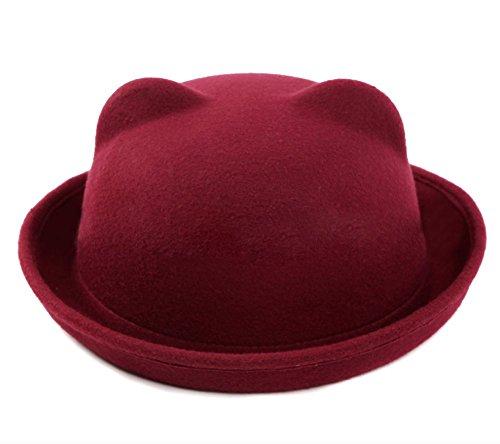 Butterme Donne della signora Girls Vintage orecchie simpatico gatto Trendy Bowler Derby Cap Hat (Vino rosso)