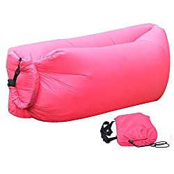 Insasta Inflatable Sleeping Bag Beach Hangout Lazy Air Bed Use For Picnic, Home (Pink)