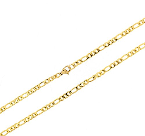 "Edforce Stainless Steel Unisex Figaro Link Chain - 23.5"" Long - 12 Pack"