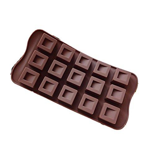 Flammee Bake House Moule a Gateau / Chocolat / Glace / Gelee ( 15 Trous ) en Silicone Carre Simple Chocolat-lover Antiadhesif Parfait Outil Fondant Mould for Cake - RANDOM COULEUR 21.5*10.5*0.8cm