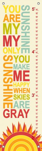 Oopsy Daisy Growth Charts My Only Sunshine Rainbow by Finny and Zook, 12 by 42-Inch
