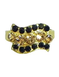 Black And Rust Stone Studded Adjustable Ring - Stone And Metal