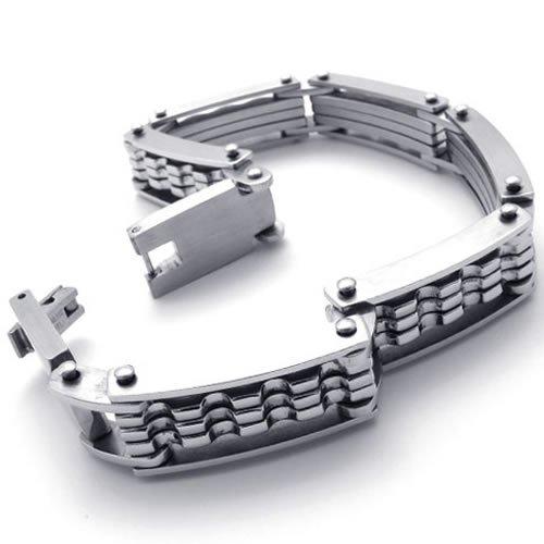 KONOV Stainless Steel Mens Bracelet, Silver, 8.6 Inch