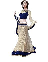 Off White Blue Party Wear Fancy Lace Work Net Lehenga Choli