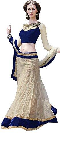 88e9a4ed58d Off White Blue Party Wear Fancy Lace Work Net Lehenga Choli (multicolor)