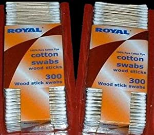 Royal Cotton Swabs Wood Sticks 300 Count Each - 2 Packs