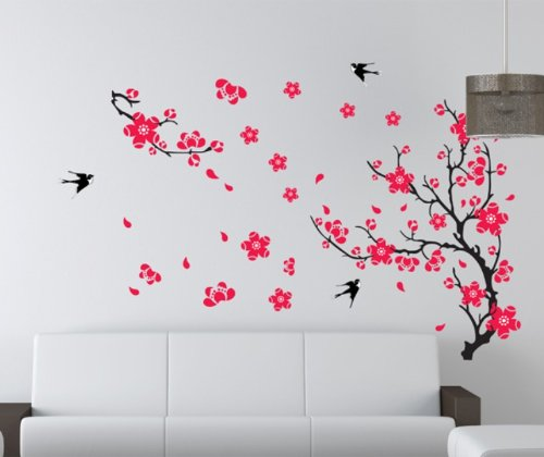 PeelCo Red Flower Tree Branch Instant Wall Decal Sticker Living Room Bedroom Wall Art (LARGE) - 1