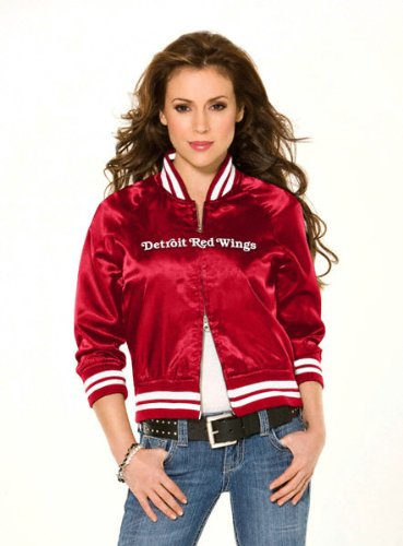 Detroit Red Wings Women's Classic Satin Baseball Collar Jacket - by Alyssa Milano at Amazon.com
