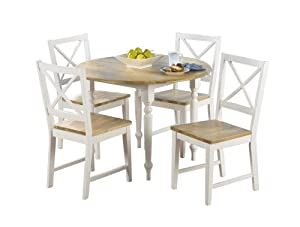 TMS 5 Piece Virginia Dining Set, White/Natural