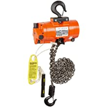 CM 7401C AirStar Link Chain Air Hoist with Pull Cord Control and Hook Suspension, 1000 lbs Capacity, 10' Lift Height, 45 fpm Lift Speed, 48 SCFM, 90 psi