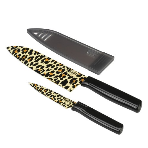 Kuhn Rikon Colori  6.5-Inch Cheetah Chef'S Knife And 4-Inch Paring Knife Set