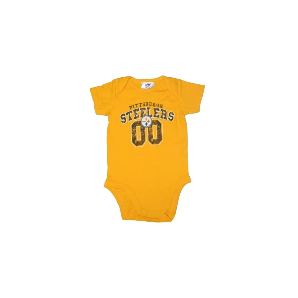 NFL Pittsburgh Steelers Infant One Piece Short Sleeve Bodysuit 0 3M Yellow