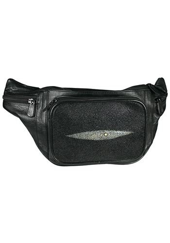 Black Fanny Pack / Belt Bag - Genuine Stingray Skin Leather