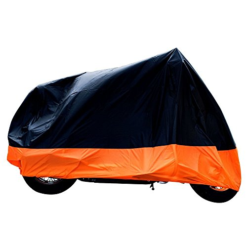 xyzctem-all-season-blackorange-waterproof-sun-motorcycle-coverfits-up-to-108-harley-davisonhondasuzu