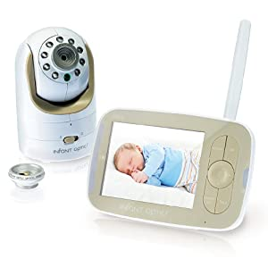 Infant Optics Video Baby Monitor With Interchangeable Optical Lens, White/Biege