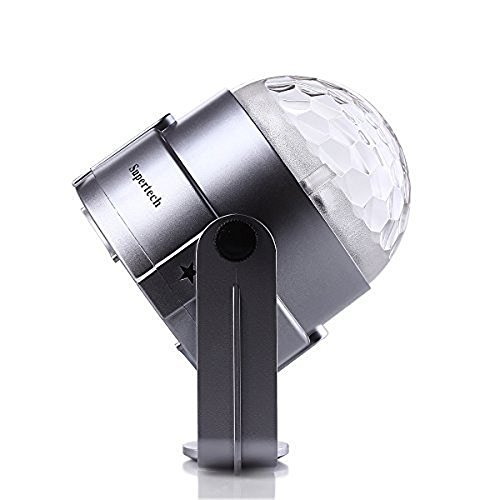 Supertech 7 Color Changing Sound Active 3W RGB Crystal LED Mini Magic Rotating Ball Effect Led Stage Lights For KTV Xmas Party Wedding Show Club Pub Disco DJ Home Room (Silver)