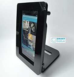 Black Nexus 7 VESA Mount Security Enclosure with Desktop Stand, made from Acrlyic material for POS, Kiosk, Square Card Reader