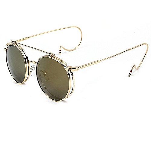 Fenck 2016 New Vintage Round Flip Up Sunglasses Women Men Retro Steampunk Mirrored Glasses Points Fashion Brand Shades