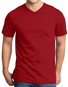 Yoga Clothing For You Mens Modern 100% Cotton V-neck Tee, XL Red